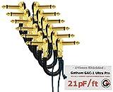 6Einheiten–Gotham gac-1Ultra Pro–12,7cm (12cm)–low-cap (21PF/FT) Gitarre Bass Effekte Instrument, Patch Kabel mit vergoldeten, Low-Profile, rechts abgewinkelt Pancake Typ TS (6,35mm) Anschlüsse