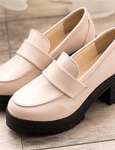 WSS 2016 Chaussures Femme-Habillé-Noir / Beige / Bordeaux-Gros Talon-Bout Arrondi-Talons-Similicuir 2in-2 3/4in-beige