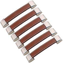 FBSHOP(TM) 6 tiradores para armario, cajón, puerta de armario, manijas de armario, tiradores de metal y piel, Hole distance:128mm