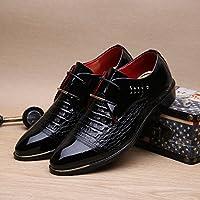 AIMENGA Zapatos De Hombre De Charol Zapatos De Hombre De Negocios Puntiagudos Casuales Cocodrilo Zapatos De Hombre con Charol Brillante, Negro, 41