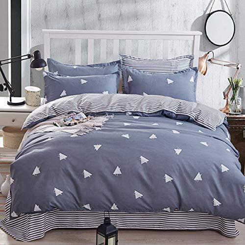 WONGS BEDDING 3 Stück Bettwäsche Duvet Set Doppel Reversible Dreieck Bettbezug Set Weiche Mikrofaser Gestreifte Bettbezüge für Tröster mit 2 Kissen Shams (Grau-Blau, 3 Stück) 200 x 200 cm (Sets Bettwäsche Grau Tröster)