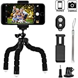 Phone tripod, Keliiyo Octopus Style Portable and Adjustable Camera Stand Holder Stabilizer with Bluetooth Remote and Universal Clip for Digital Product,Phone,GoPro (Small)