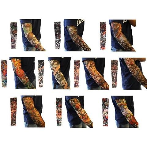 Bundle Monster - 10 mangas con tatuajes temporales - Diseños tribal, dragón, calavera, etc.