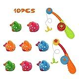 Nuheby Wasserspielzeug Badewannenspielzeug Badespaß Angelspiel Wasser Lernspielzeug mit 8 Stücke Fische Kinder Badespielzeug für Geburtstags Geschenke Spielzeug ab 18 Monaten Mädchen Junge