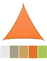 casa pura® Sonnensegel wasserabweisend imprägniert | Dreieck gleichseitig | UV Schutz | verschiedene Farben und Größen (orange, 3x3x3m)