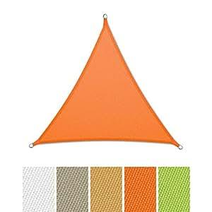 casa pura® Sonnensegel wasserabweisend imprägniert | Dreieck gleichseitig | Testnote 1.4 | UV Schutz | verschiedene Farben und Größen (orange, 5x5x5m)