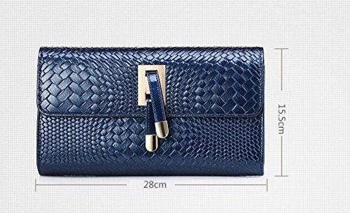 FZHLY Estate Nuovo Patent Leather Borse Europa E Negli Stati Uniti Woven Catena Borsa A Tracolla,Blue Blue