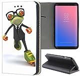 Samsung Galaxy S3 / S3 Neo Hülle Premium Smart Einseitig Flipcover Hülle Samsung S3 Neo Flip Case Handyhülle Samsung S3 Motiv (1076 Frosch Cartoon Grün Schwarz Orange)