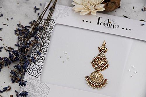 Scopri offerta per Teeliya® » Love Letter Tikka Bindi D'oro Gioielli Indiani e Bollywood Brillantini Adesivi per il Corpo Strass per il Viso Glitter Tatuaggio Temporaneo