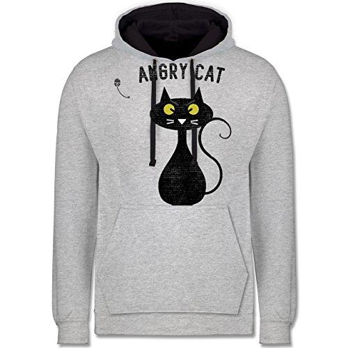 Nerds & Geeks - Angry Cat - Nerdy Cats - Kontrast Hoodie Grau meliert/Dunkelblau