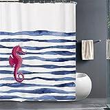 FuXing Duschvorhang Anti Schimmel und Wasserdicht Duschvorhänge Korallenfisch PEVA Badvorhang Duschvorhaenge 180 x 200 cm (Seepferdchen)