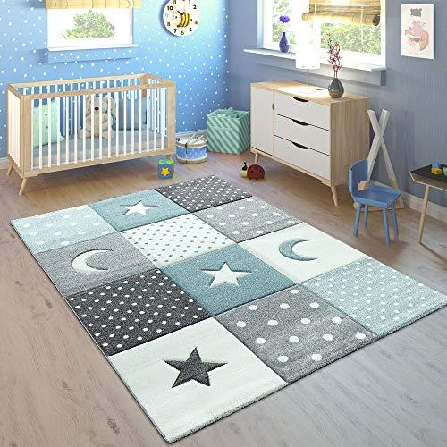 Paco Home Alfombra Infantil Pastel Cuadros Puntos Corazones Estrellas Blanco Gris Azul, tamaño:80x150...