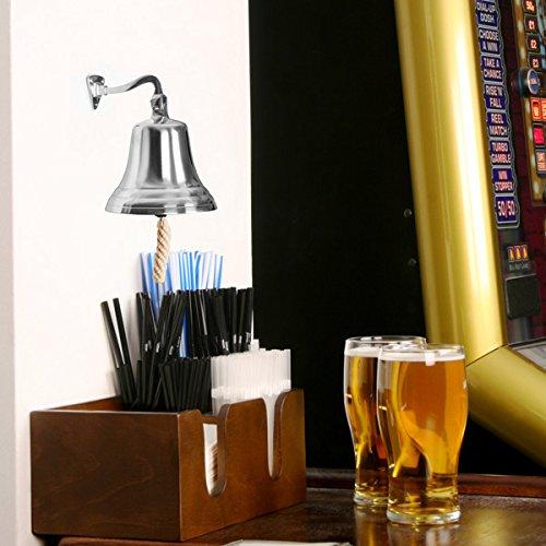 Glocke aus Chrom, klein, 90mm, wandmontierbar, Schiffsglocke, Pubglocke, ideal für Pub und Hausbar