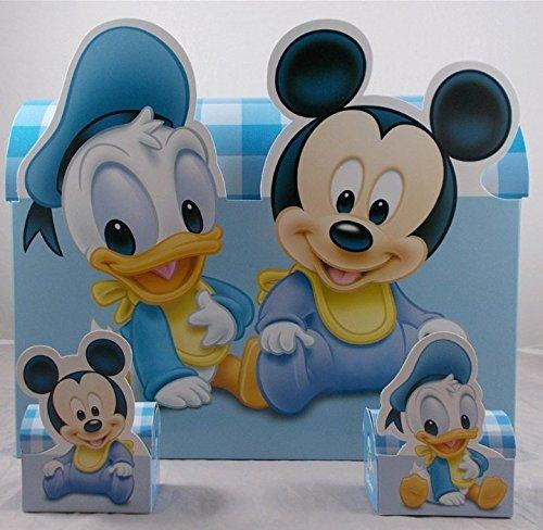 10 bomboniere disney astuccio porta confetti topolino e paperino con confetti e bigliettini inclusi