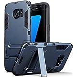 Samsung Galaxy S7 Edge Carcasa Híbrida de Silicona + Polycarbonato Doble Resistencia, y soporte para mesa - Azul oscuro
