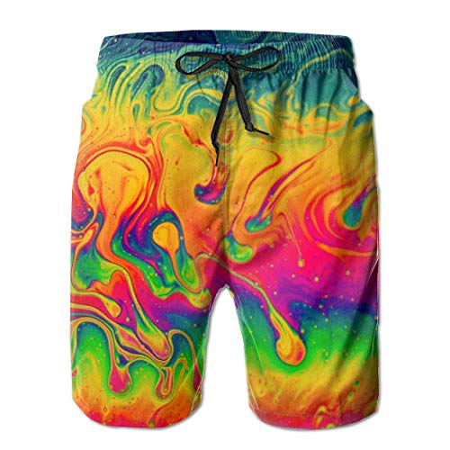Qfunny Men's Funny Fantasy Color Neon Swim Trunks Quick Dry Summer Surf Beach Board Shorts/Side Pockets Herrenshorts am Strand