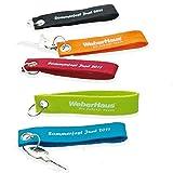 HACH KG Filz Schlüsselanhänger, Grün, Werbeartikel Set, Bedruckt mit Namen Oder Logo, Streuartikel, Geschenk (50 Stück)