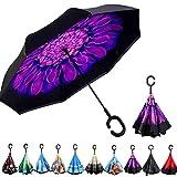 Double Couche Parapluie inverse de Voyage Parapluie Inversé Coupe-Vent Anti-UV Soleil Pluie Meilleur Compact Voyage Parapluie Pour La Voiture SKY TEARS (Profond Violet)