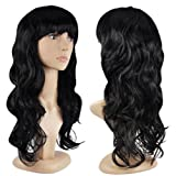 datconshop (TM) Damen Fashion Perücke lockiges Haar Perücken mit Pony schwarz lang Haar Perücke
