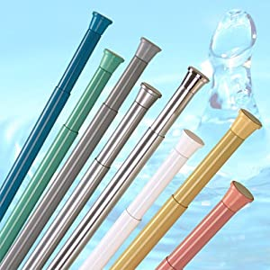 KS Handel 24 DUSCHVORHANGSTANGE SLIM LINE 125 cm – 220 cm WEISS ALU! SPRING SHOWER ROD WHITE!