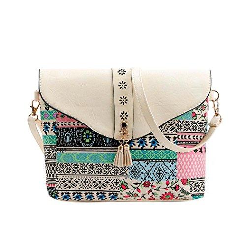 Geometrische Drucken (Resplend Damen Süße Umhängetasche Drucken Taschen Geometrisches Muster Rucksack Crossbody Handtasche Aus PU-Leder Reißverschluss Schultertasche (Weiß))
