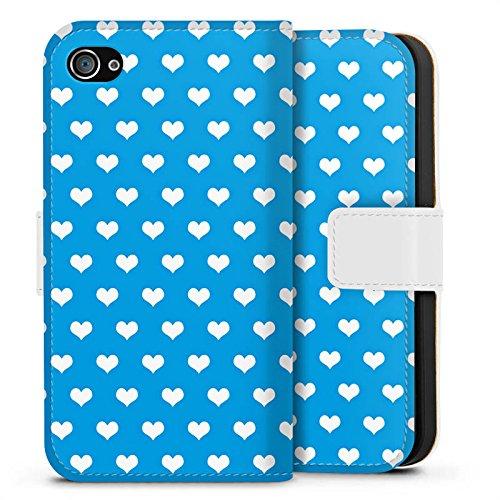 Apple iPhone X Silikon Hülle Case Schutzhülle Herz Blau Polka Sideflip Tasche weiß