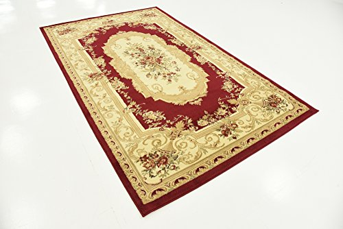 Country Traditional 5-Feet by 8-Feet (5' x 8') Versailles Red Area Rug