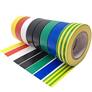 Maveek 0.75 Inch 8 Pack Electrical Insulation Tape 18M Mixed Colour Electrical Tape Gaffer Tape