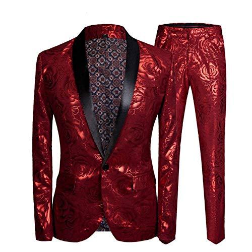 Homme Fit Slim Kostüm - GFRBJK Männer Slim Fit Kostüm Homme Vergoldung 2 Stück Set Hochzeitsanzüge für neueste Coat Pant Designs Sänger Bühnenkleidung (Schal Revers Anzüge) XXL