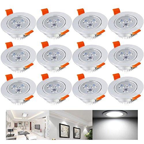 Hengda® 3W LED Einbauleuchte Kaltweiß Wohnzimmer Decken Leuchte Lampe Spot Strahler Set 235-255LM 85-265V AC, 12 set IP44