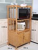 Küchenwagen HWF Küchenregale Mikrowellenherd Rackboden Aufbewahrungsbox Küche Zubehör Bambus (Farbe : A, Größe : 80cm)