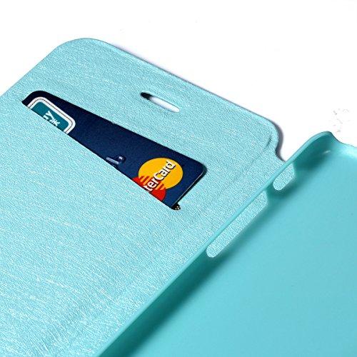 """JewelryWe Luxus PU Leder Wasserdicht Handy Tasche Schutzhülle Hülle Etui Flip Case Cover Schale für Apple iPhone 6(4,7""""), Booktyle, Farbe Schwarz Seeblau"""