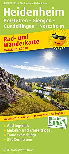 Heidenheim, Gerstetten - Giengen - Gundelfingen - Neresheim: Rad- und Wanderkarte mit Ausflugszielen, Einkehr- & Freizeittipps, wetterfest, reißfest, ... 1:60000 (Rad- und Wanderkarte / RuWK)