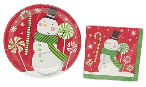 Christmas House verziert Holiday Papier Teller und Serviette Set ~ dient 18 Happy Snowman