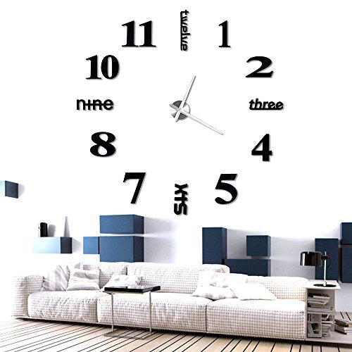 Anpro orologio da parete effetto tridimensionale 3d,3d adesivi orologio, decorazione perfetta per casa, ufficio, hotel, ristorante, albergo, fai da te.