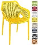 CLP XL-Bistrostuhl Air aus Kunststoff I Stapelstuhl Air mit Einer Sitzhöhe von 44 cm I Outdoor-Stuhl mit Wabenmuster I in Verschiedenen Farben erhältlich Gelb