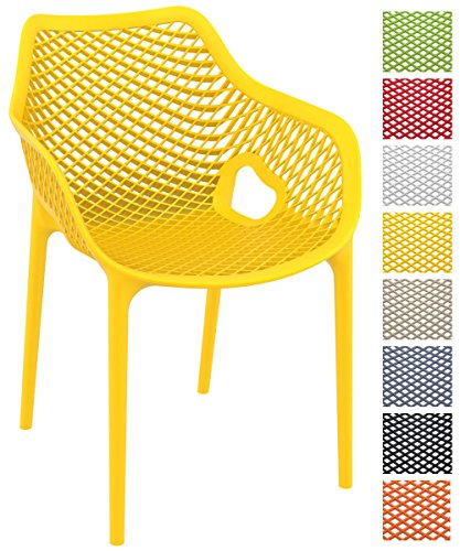 CLP Stapel-Stuhl AIR XL, Bistrostuhl stapelbar, max. Belastbarkeit: 130 kg, Gartenstuhl Kunststoff, Sitzhöhe 44 cm, tolle Wabenoptik Gelb