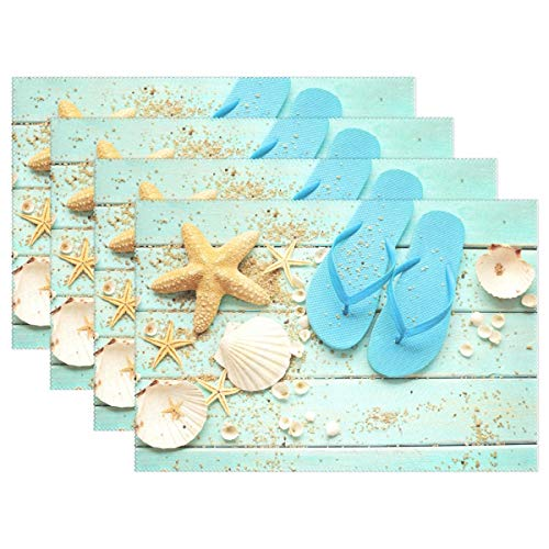 GOODSTHING Tischset, Sea Theme Starfish Shell Sand on Blue Wooden Placemat Table Mat 12