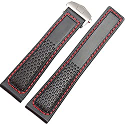 Red Stitching 22mm Leather Watch Strap fit Tag Heuer Strap Deployment Clasp Carerra Monaco