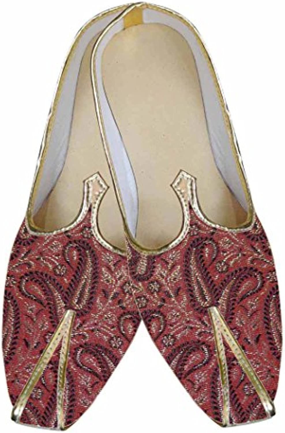 INMONARCH Herren Rot Brokat Designer Schuh MJ0005