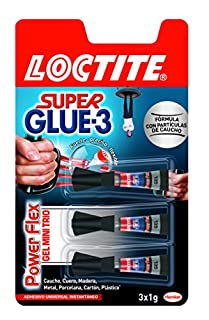 Loctite Super Glue-3 Power Flex Mini Trio, gel adhesivo flexible y resistente, pegamento instantáneo para superficies verticales, pegamento transparente extrafuerte, 3x1g (B00U1OPL8Q) | Amazon Products