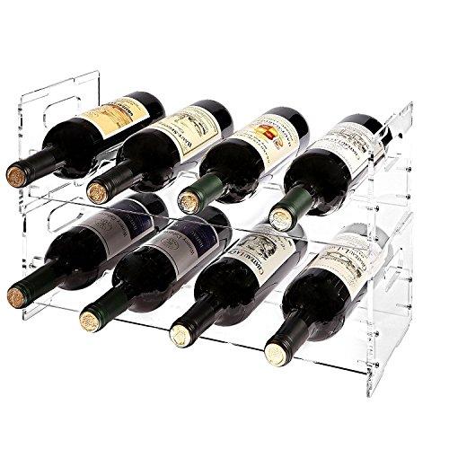 MyGift Modernes Weinregal, Acryl, freistehend, stapelbar, für 8 Flaschen, 2 Stück, acryl, farblos, 2 Rack Set (8 Bottle)
