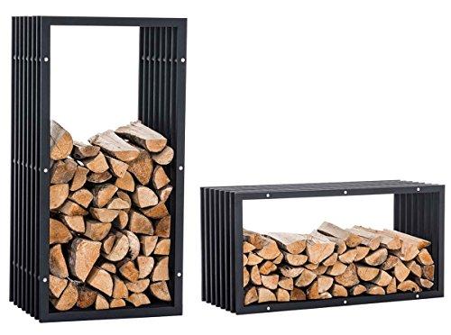 CLP Kaminholzregal/Kaminholzständer Irving V3, Stabile Konstruktion in Rippen-Optik, mit Bodenschoner, moderner Holzbutler, Metall Schwarz, 50 x 40 x 100 cm