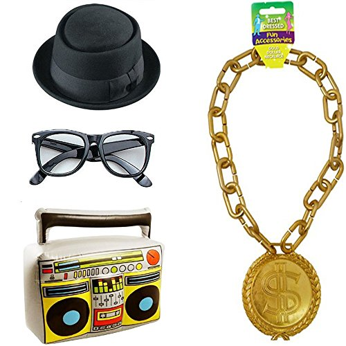 RUN DMC 80s Hip Hop Costume Kit. Inc. Hat, Glasses, Gold Chain and Inflatable Ghetto Blaster.