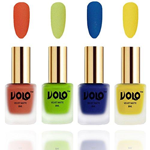 VOLO Velvet Matte Nail Polish Orange,Parrot Green, Blue and Yellow Pack Of 4 (8 Ml Each)