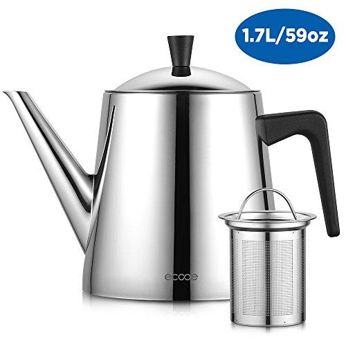 Ecooe Teekanne Edelstahl mit Entfernbarem Teesieb, Tropffreier Teekanne, Teekannen-Wärmer Freundlich, für Losen Blatt-Tee, Teebeutel und Mehr, 1700ml / 59.8 oz