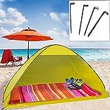 camp active® Pop Up Strandmuschel mit Boden Wurfzelt Sonnenschutz Windschutz UV Schutz 200x125x110 cm gelb