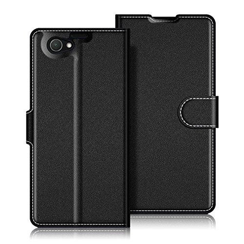 Coodio Sony Xperia Z1 Compact Hülle Leder Lederhülle Ledertasche Wallet Handyhülle Tasche Schutzhülle mit Magnetverschluss / Kartenfächer für Sony Xperia Z1 Compact, Schwarz