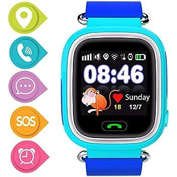 Niños SmartWatch Telefono, GPS LBS WiFi Actividad Tracker Pantalla táctil Inteligente Relojes con Chat SOS Llamar Compatible para iPhone Android (Q90 ...