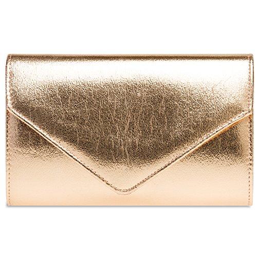 Caspar TA424 stylisch elegante Damen Metallic Envelope Clutch Tasche Abendtasche mit langer Kette, Größe:One Size, Farbe:roségold (Metallic Clutch Envelope)